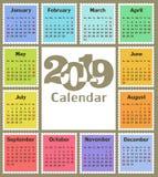 Calendário para 2019 Fotografia de Stock Royalty Free