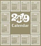 Calendário para 2019 Foto de Stock Royalty Free