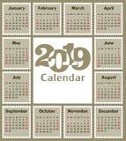 Calendário para 2019 Foto de Stock