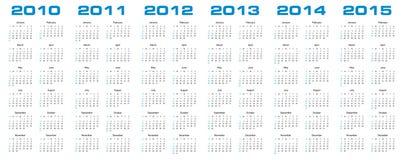 Calendário para 2010 a 2015 Foto de Stock