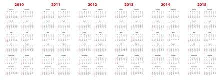 Calendário para 2010 a 2015 ilustração stock