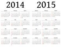 Calendário para 2014 e 2015 no vetor Imagens de Stock