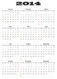 Calendário para 2014 Fotografia de Stock