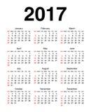 Calendário para 2017 Imagens de Stock Royalty Free