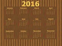 Calendário para 2016 Foto de Stock