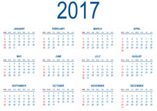 Calendário para 2017 Imagem de Stock