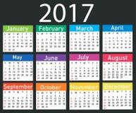 Calendário para 2017 Fotos de Stock