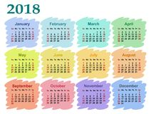 Calendário para 2018 Foto de Stock