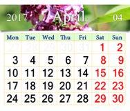 Calendário para abril de 2017 com arbusto lilás Imagens de Stock Royalty Free
