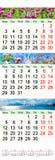 Calendário para abril-junho de 2017 com imagens Fotografia de Stock