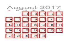 Calendário para agosto de 2017 Foto de Stock