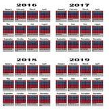 Calendário para 2016,2017,2018, 2019 anos Fotografia de Stock