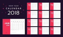 Calendário para 2018 brancos e o fundo vermelho ilustração royalty free