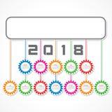 Calendário 2018 para a celebração do ano novo Fotografia de Stock