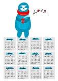 Calendário para 2019 com a ilustração stock