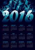 Calendário para 2016 em poligonal abstrato azul Fotos de Stock Royalty Free