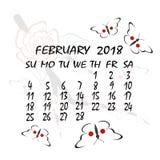 Calendário para 2018 Estilo japonês O mês de fevereiro Imagens de Stock
