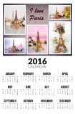 Calendário para 2016 Eu amo Paris Foto de Stock Royalty Free