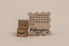 Calendário para fevereiro de 2017 Fotografia de Stock Royalty Free