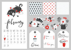 Calendário para fevereiro de 2016 com gato Imagem de Stock