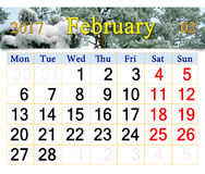 Calendário para fevereiro de 2017 com o ramo coberto pela neve Fotos de Stock
