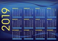 calendário 2019 para Italia, cor do humor da noite e estilo ilustração stock