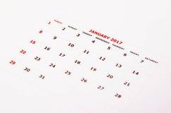 Calendário para janeiro de 2017 Foto de Stock