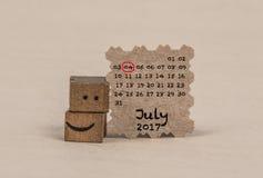 Calendário para julho de 2017 Foto de Stock