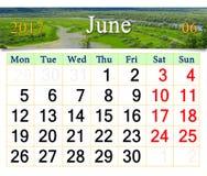 Calendário para julho de 2017 no fundo do verão Imagem de Stock Royalty Free