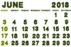Calendário para junho de 2018 no fundo branco Imagens de Stock