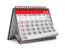 Calendário para junho Ilustração 3d isolada Imagem de Stock