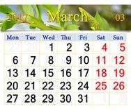 Calendário para março de 2017 com os brotos novos do salgueiro Imagens de Stock Royalty Free