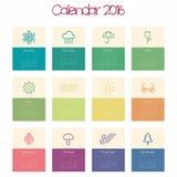 Calendário para 2016 - molde Imagem de Stock Royalty Free