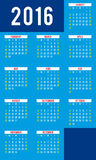Calendário para 2016 - molde do vetor Fotografia de Stock Royalty Free