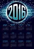 Calendário para 2016 no fundo abstrato azul Fotografia de Stock