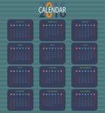 Calendário para 2016 no fundo branco Ilustração Royalty Free