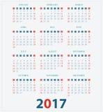 Calendário para 2017 no fundo branco Ilustração Royalty Free