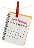 Calendário para o close-up do novembro de 2017 Fotografia de Stock Royalty Free