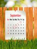 Calendário para o close-up do setembro de 2017 Fotografia de Stock Royalty Free