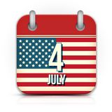 Calendário para o Dia da Independência Fotografia de Stock Royalty Free