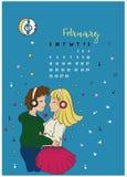 Calendário para o mês de fevereiro de 2018, de uma menina e de um aperto do indivíduo ilustração do vetor