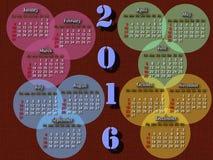 Calendário para o próximo ano nos círculos Fotos de Stock Royalty Free
