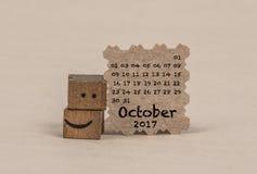 Calendário para outubro de 2017 imagem de stock