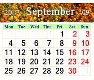 Calendário para setembro de 2017 com cravos-de-defunto Fotos de Stock Royalty Free