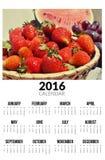 Calendário para 2016 Strawberies doces Fotos de Stock