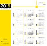 calendário 2018, planejador, organizador e molde da programação para empresas e o uso privado Fotos de Stock