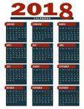 calendário 2018, planejador, organizador e molde da programação para empresas e o uso privado Imagem de Stock Royalty Free