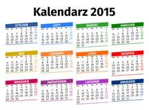 Calendário polonês 2015 Foto de Stock Royalty Free