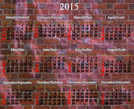 Calendário por 2015 anos em inglês e em francês Imagens de Stock Royalty Free