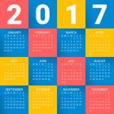 Calendário por 2017 anos no fundo colorido brilhante A semana parte de domingo Molde moderno da cópia do projeto do vetor Imagens de Stock Royalty Free